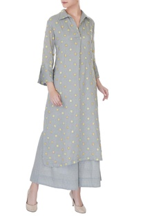 Grey mirror embroidered kurta with palazzos