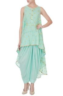 Sky blue zari embroidered rajasthani high-low shirt with lurex salwar pants