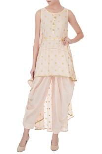 Beige high-low asymmetric tunic with salwar pants