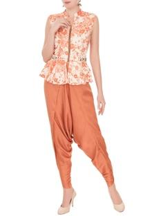 Off-white & orange printed peplum top & dhoti pants