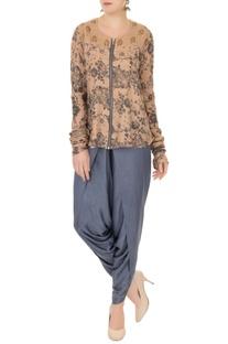 Grey & blue zipper detail blouse with dhoti pants