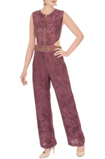 Purple mesh printed jumpsuit with embroidered belt