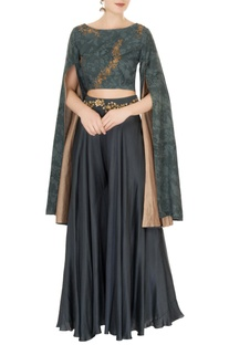 Slate grey cotton blend cape blouse with sharara pants