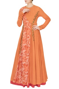 Orange cotton blend zardozi embroidered anarkali