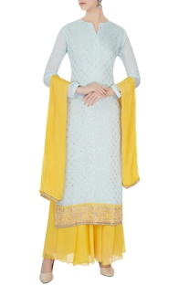 Ice blue & yellow chinon mukaish work kurta with skirt and dupatta