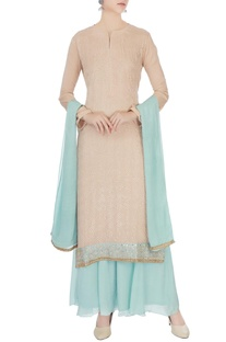 Peach & ice blue chinon mukaish work kurta with skirt and dupatta