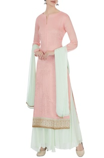 Pink & light blue chinon mukaish work kurta with skirt and dupatta