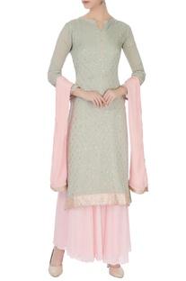Pale grey & baby pink chinon mukaish work kurta with skirt & dupatta