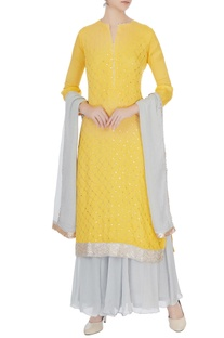 Yellow & pale blue chinon mukaish work kurta with skirt & dupatta