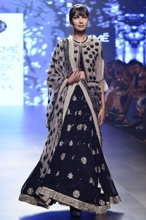 Black georgette lehenga with frilly waistcoat & dupatta