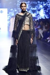 Black organza kaamdani sari with cape