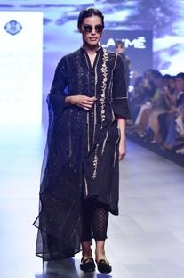Black chikankari embroidered kalidar kurta set