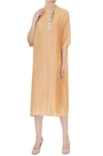 Peach satin linen side button dress
