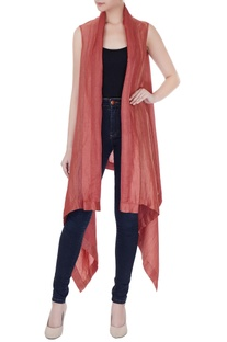Dull red satin linen square draped jacket