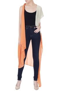 Orange & grey crepe georgette & satin linen color-block jacket