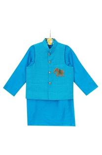 Blue cotton silk nehru jacket with kurta