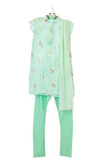 Mint green gajji silk kurta set