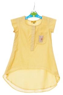 Lemon yellow chanderi high-low tunic