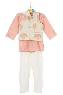 Peach shirt style kurta with off-white churidar