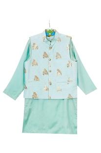 Mint green foil owl print jacket set