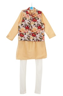Multicolored floral printed jacket with beige kurta & churidar