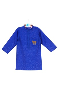 Royal blue cotton silk hand embroidered horse motif kurta