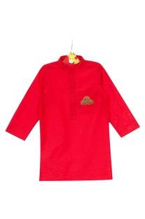 Red cotton silk hand embroidered car motif kurta