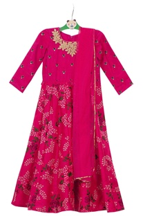 Bright pink embroidered anarkali with dupatta