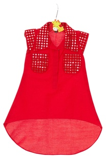 Red mirror embroidered tunic