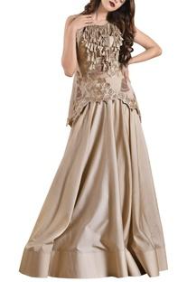 Ivory net flared lehenga with zardozi blouse