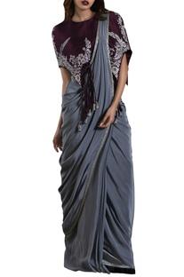 Grey crepe silk sari with purple cape blouse