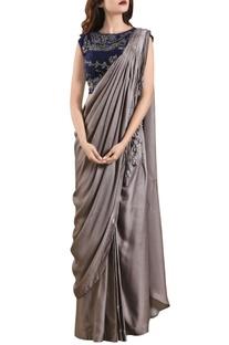 Fossil grey raw silk three-piece concept sari