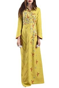 Yellow hand-woven khadi machine embroidered maxi dress