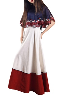 Cream flared maxi skirt with organza cape