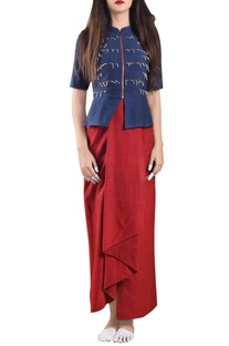 Red hand-woven wrap dress with jacket
