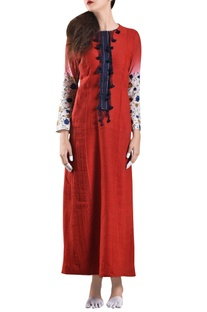 Red hand-woven khadi panelled dress