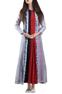 Red dual color maxi dress with zari jacket