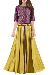 Corn yellow pleated muslin maxi skirt with wine crop top