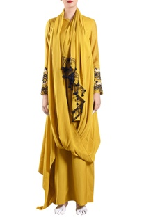 Yellow muslin draped dress