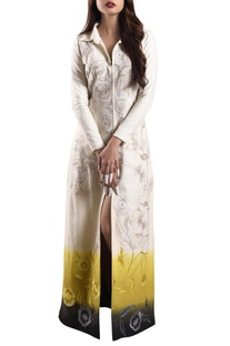 White & yellow ombre hand-woven khadi dress