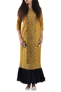 Yellow & black hand-woven khadi maxi dress