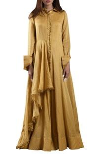 Yellow hand-woven zari striped maxi dress
