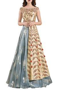 Yellow thread embroidered jacket with organza dramatic lehenga