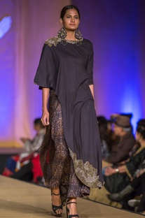 Black dabka embroidered kurta with mughal printed culottes