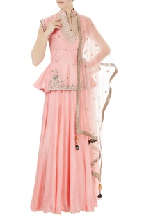 Pink silk & net elephant motif embroidered lehenga set
