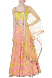 Yellow sequin embroidered sleeveless blouse with lehenga set