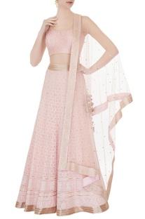 Powder pink chikankari embroidered lehenga set