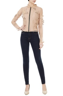 Beige pure leather & tulle sheer jacket