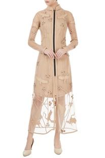 Beige bird applique trench dress