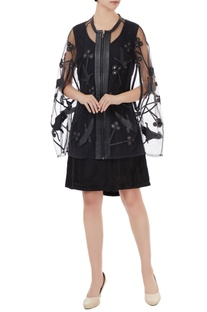 Black tulle net applique jacket